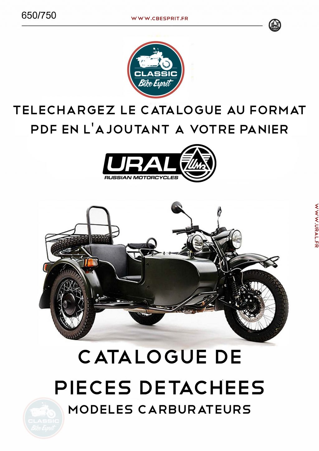 catalogue pieces d tach es ural modeles carburateurs classic bike esprit. Black Bedroom Furniture Sets. Home Design Ideas